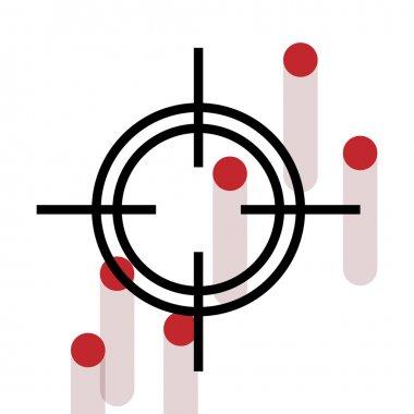 Cross Hair with bleeding gun shot holes - vector graphic for army, firearm, gun, sniper or similar concepts stock vector