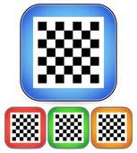 šachová deska vektorové ikony pro šachy, hra, hraní pojmy - kostkované šachová deska symbol na obdélníkové modré, červené, oranžové čtvercovou ikonu