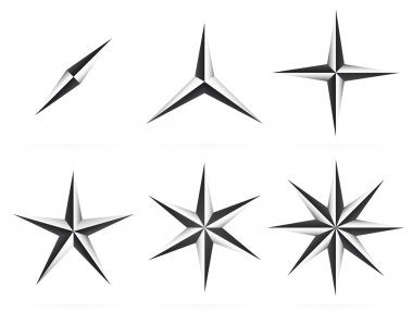 3d shapes, 3,4,5 pointed beveled stars.