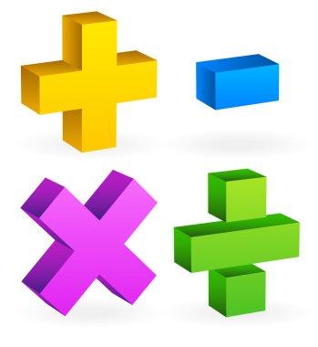 Math, mathematics symbol. Calculation, calculator concept. Plus,