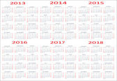 základní kalendář, 2013, 2014, 2015, 2016, 2017, 2018