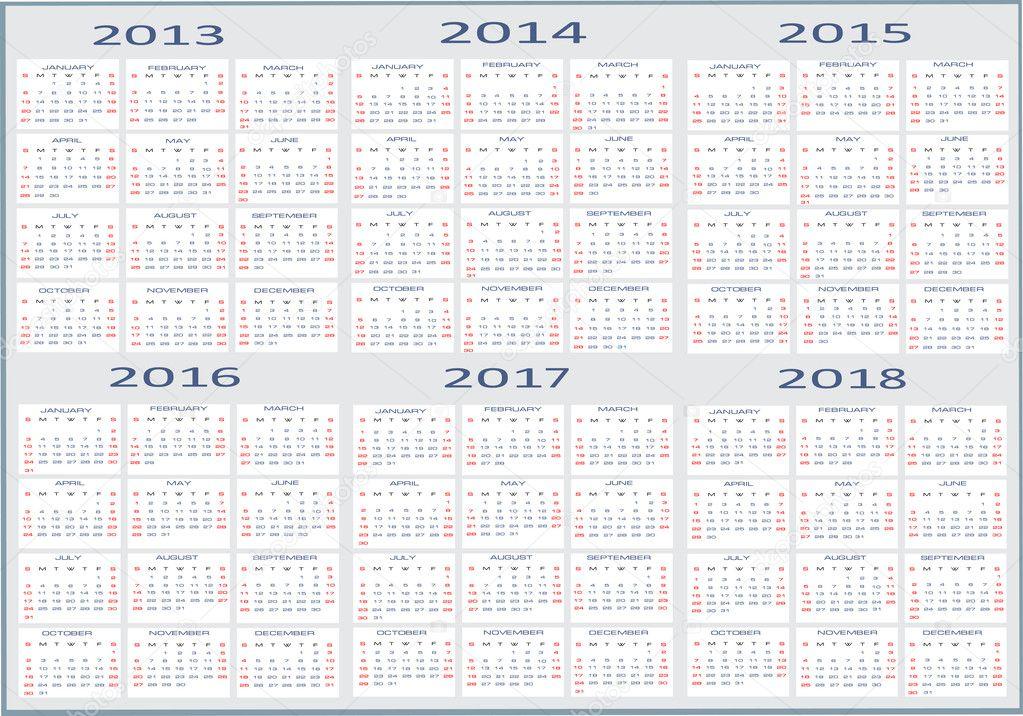 kalendar stock 2014 Basic Calendar, 2013, 2014, 2015, 2016, 2017, 2018 — Stock Vector  kalendar stock 2014