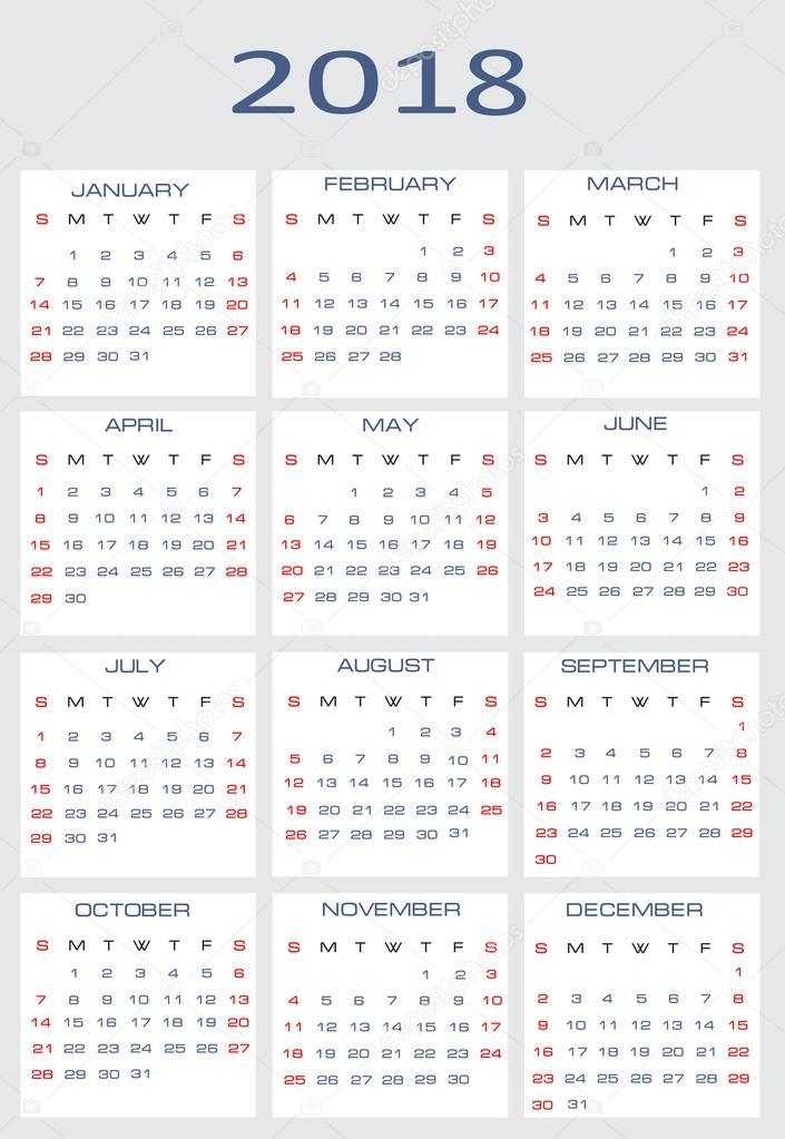 Drawing Calendar 2018 : Vector calendar for — stock mitay