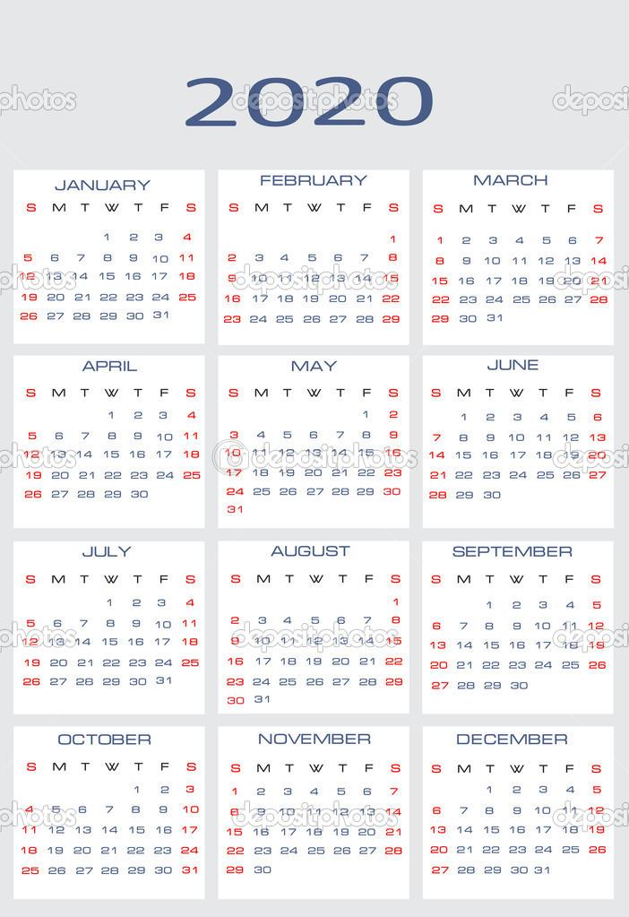 2020 naptár Vector calendar for 2020 — Stock Vector © mitay20 #14526409 2020 naptár