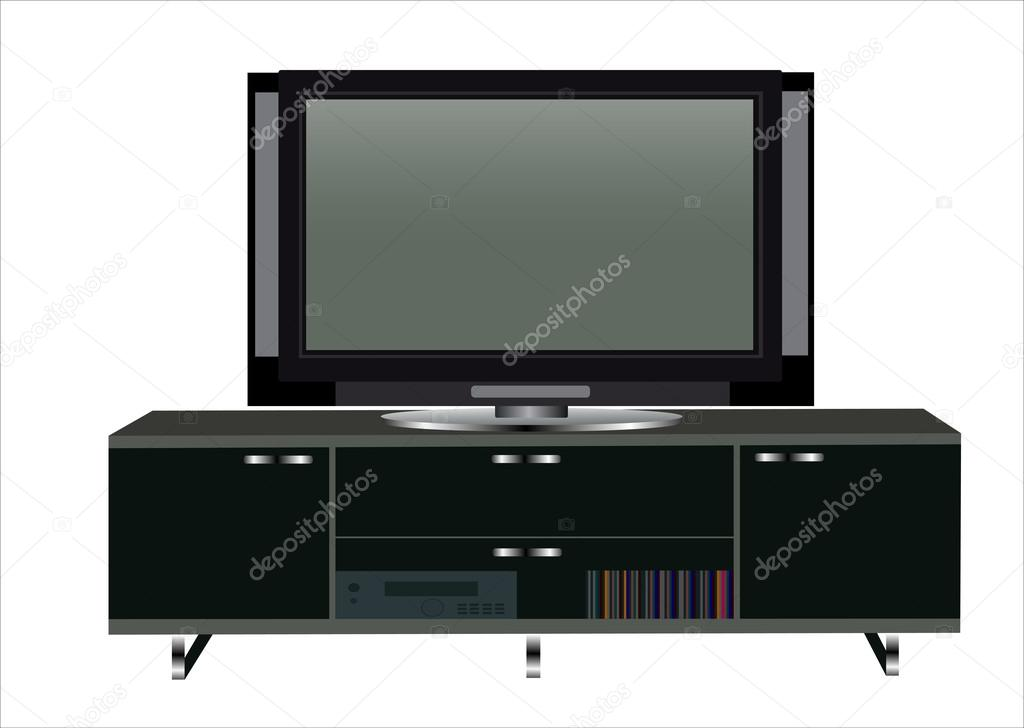 Modern TV Table Stand With Shelves U2014 Stock Vector