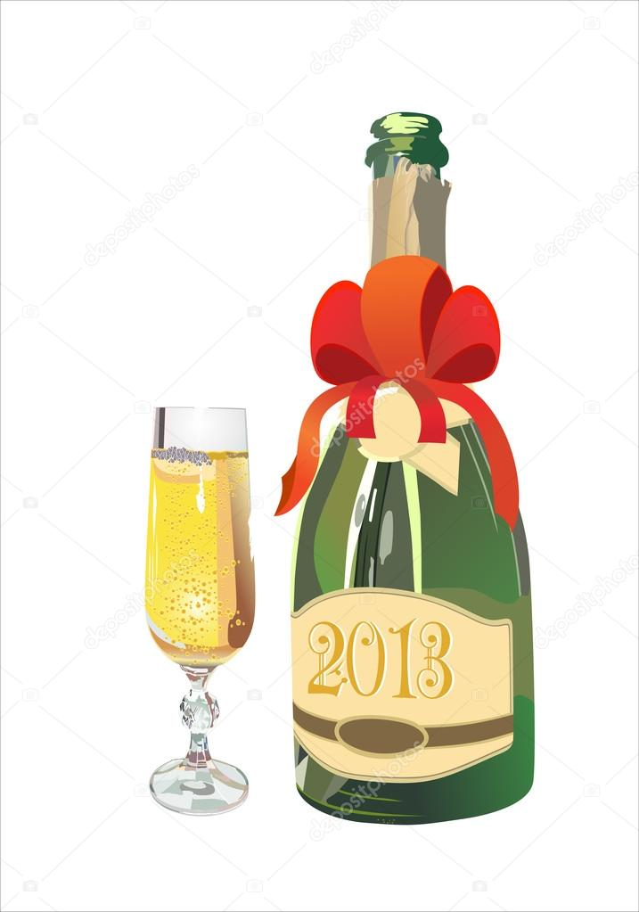 Bottle of Champagne in 2013 and New Year's drink. Vector illustration.