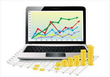 Profit concept, Coins shows business growth chart isolated on a white background