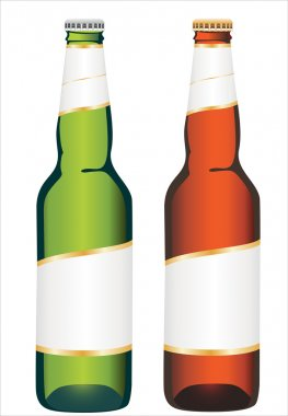 Coloured glass beer bottles on white background