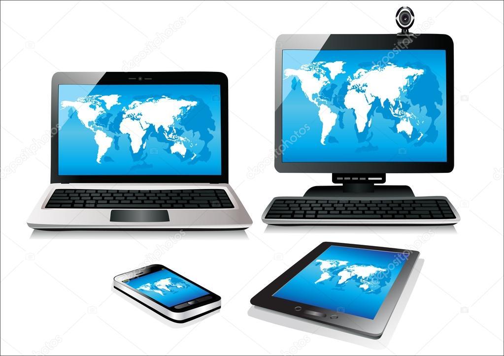 t l phone mobile tablette pc ordinateur portable et ordinateur vecteur de carte monde image. Black Bedroom Furniture Sets. Home Design Ideas