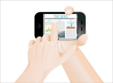 Men Hand touch screen on smartphone with business news. Isolated on white.