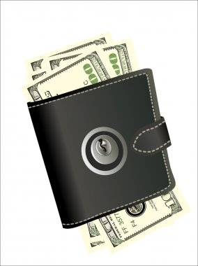 A wallet with padlock - symbolic for safety precautions on either spending money or pick-pocketing.