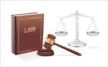 Silver scales of justice, gavel and book isolated on white