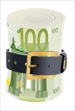 100 euro notes squeezed by leather belt on a white background