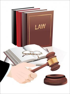 wooden gavel in hand and law books isolated on white
