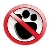 Paw print with not allowed symbol - no pets allowed