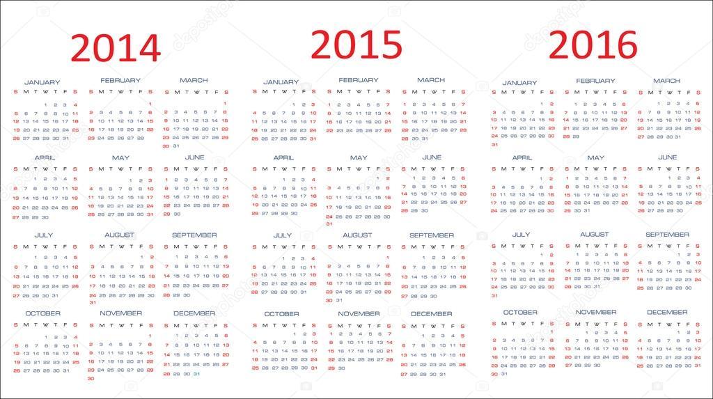 plantillas clásicas de calendario para los años 2014-2016 — Archivo ...