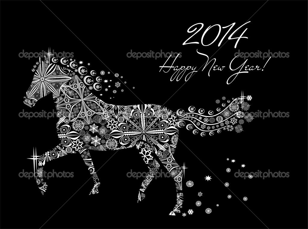 year of horse happy new year 2014 stock vector