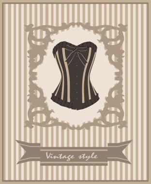 Vintage corset. Postcard.