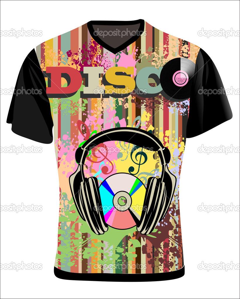 vektor. Pánské tričko design šablony hudební pozadí — Stock Vektor ... f2dac3e3e4