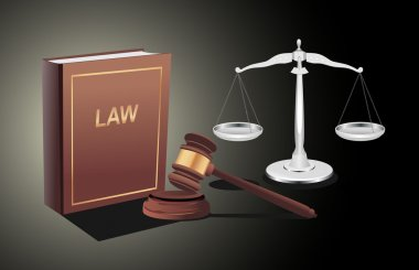 Silver scales of justice, gavel and book