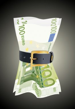 100 euro notes squeezed by leather belt