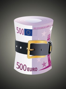 500 euro notes squeezed by leather belt