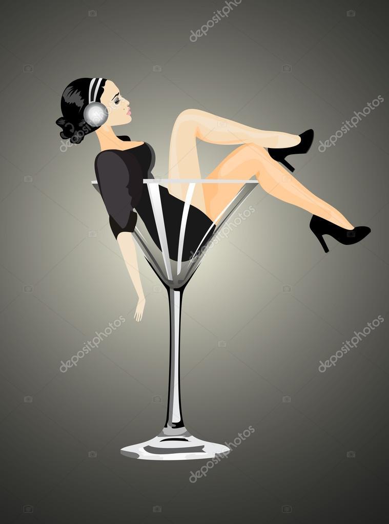 Sexy woman in martini glass