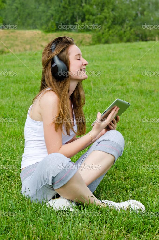 Young girl enjoying her music