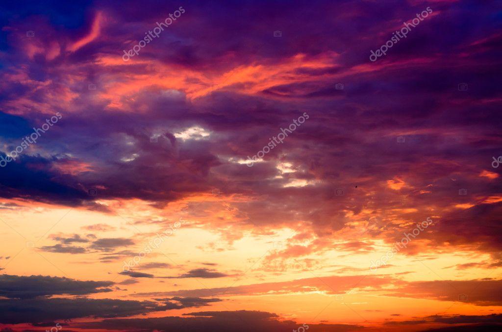Beautiful fiery orange and purple sunset