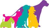 barevné siluety psů