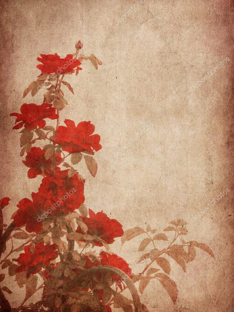Grunge textured roses