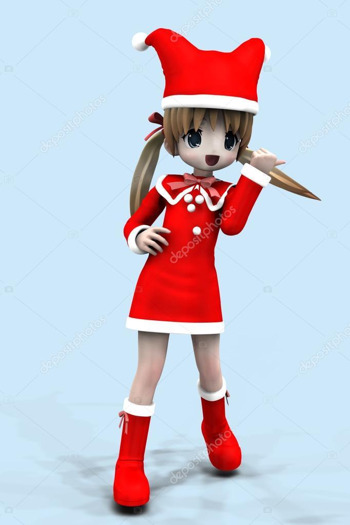 3D Anime Girl in Weihnachten Kleid — Stockfoto © artshock #14920323