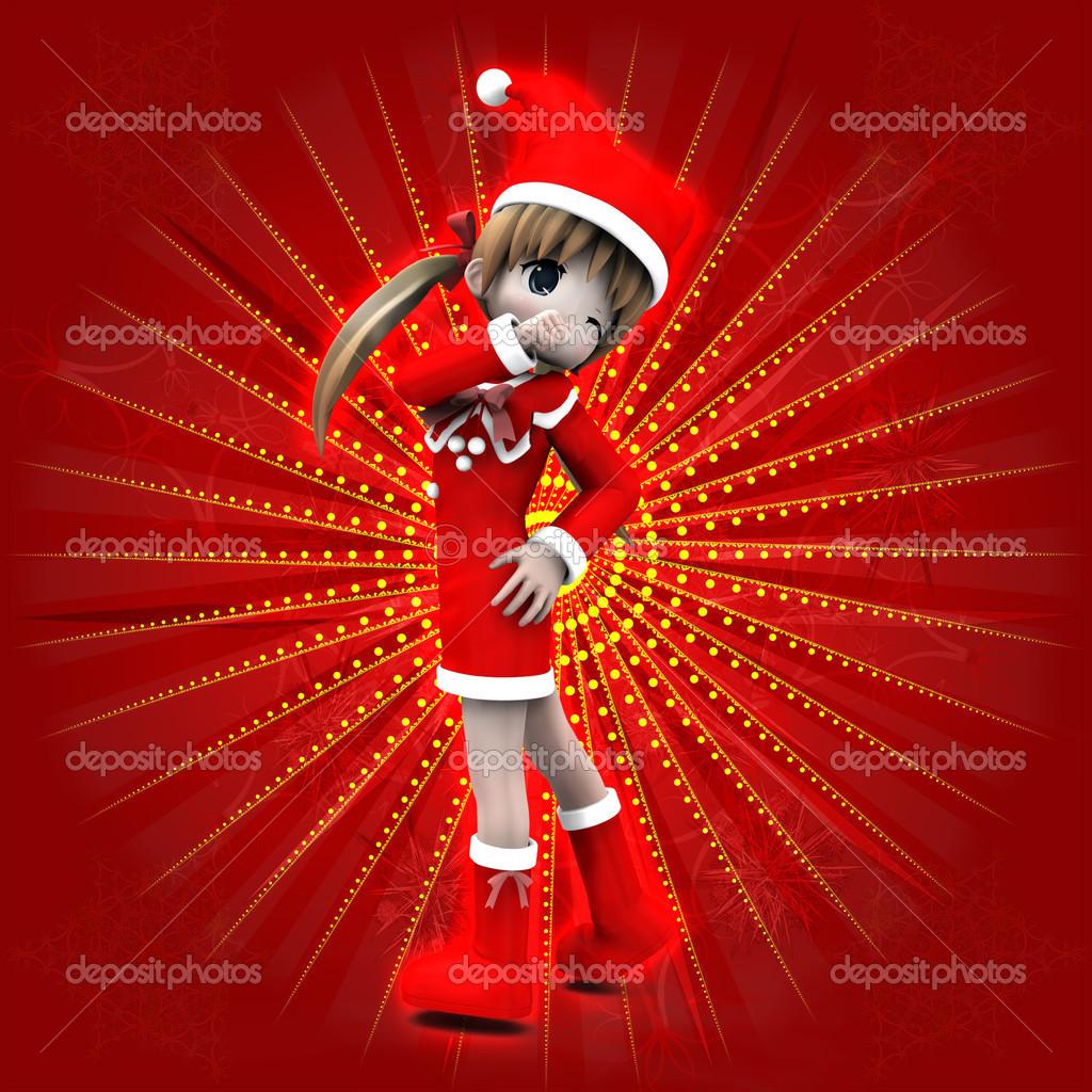 Anime Mädchen in Weihnachten Kleid — Stockfoto © artshock #15167429