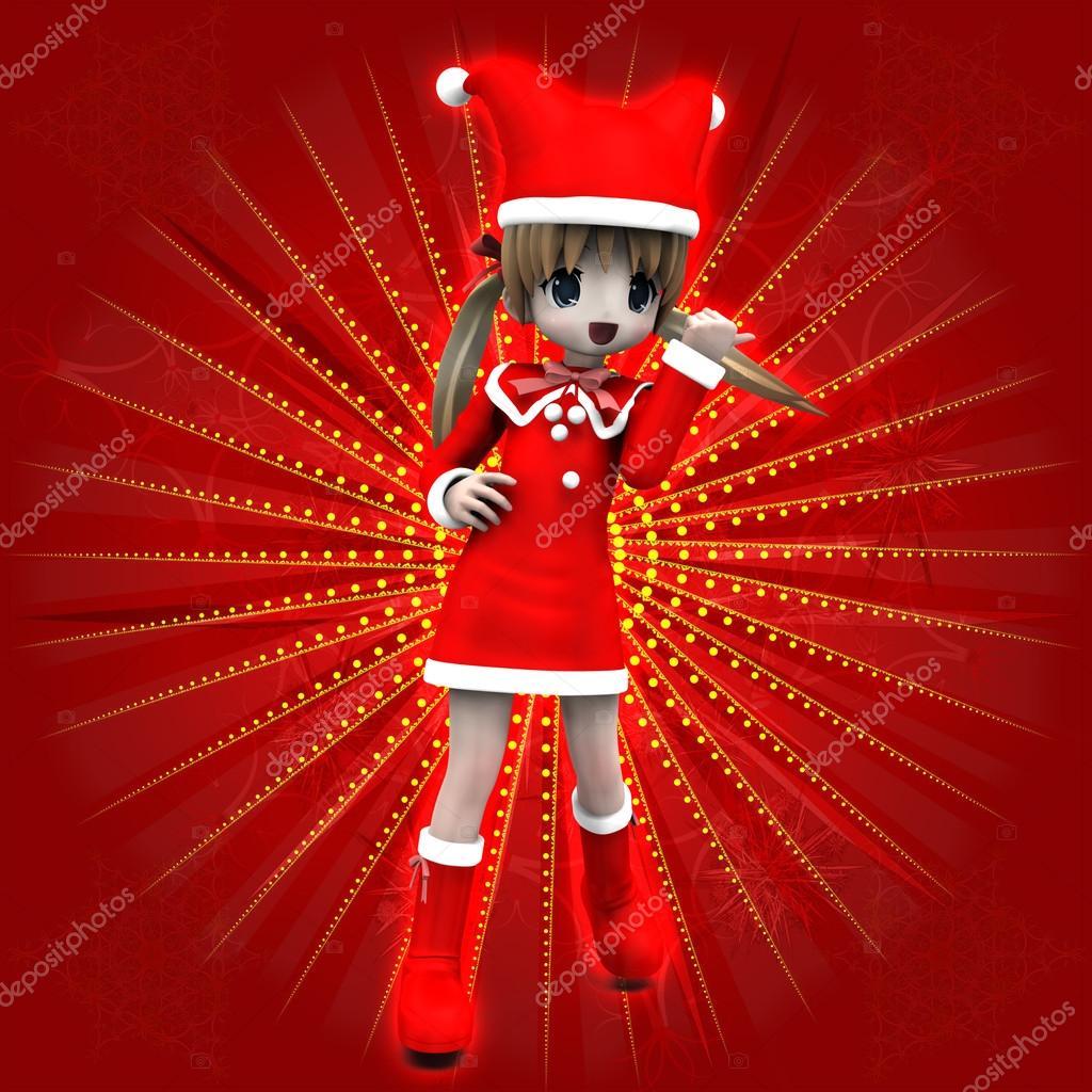 Anime Mädchen in Weihnachten Kleid — Stockfoto © artshock #15358519