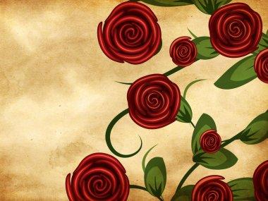 Roses on grunge paper