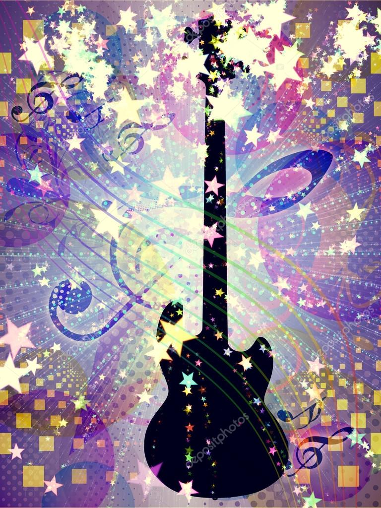 Funky music background with guitar — Stock Photo ...