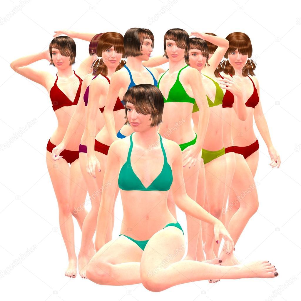1c1b1f2a44a7 3D chicas en bikini — Fotos de Stock © artshock #19251825