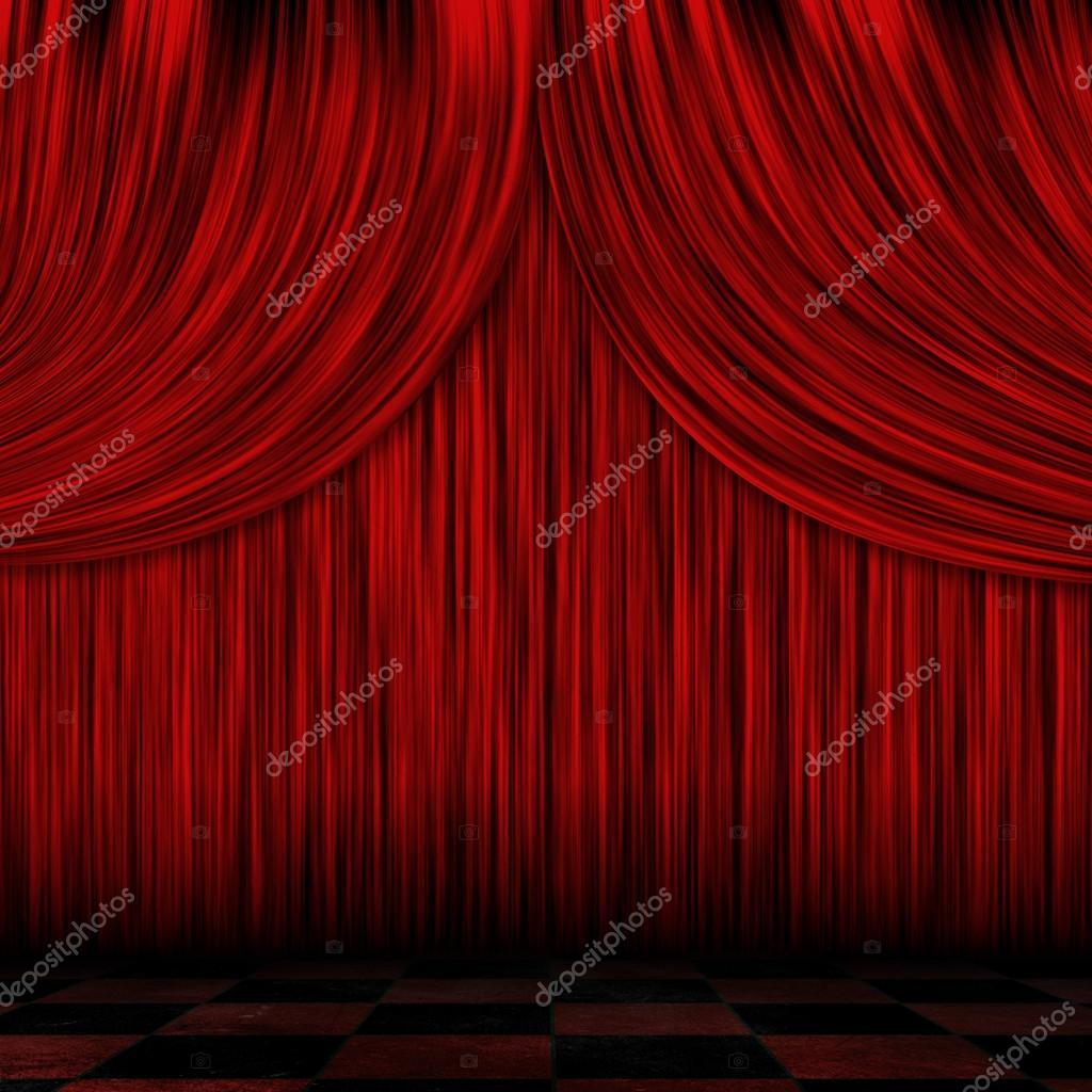 gesloten rode gordijnen stockfoto