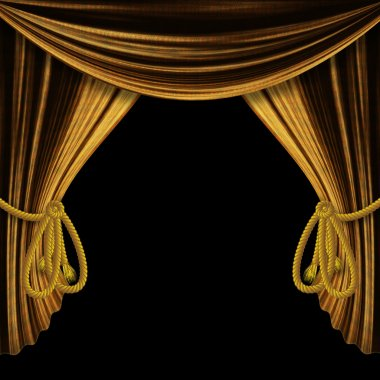 Opened gold curtains on black background