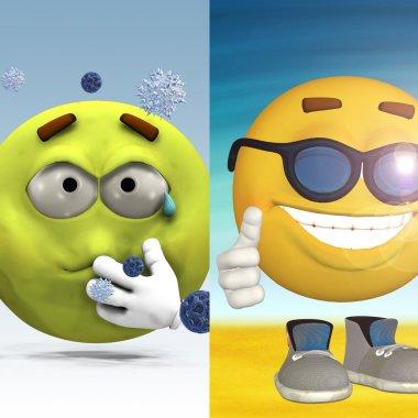 Sick vs Happy smiley