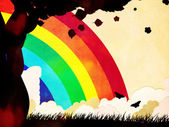Silueta stromu grunge a rainbow