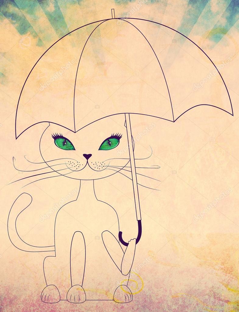Cat with umbrella