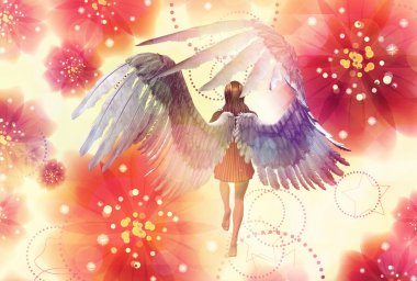 3d girl with angel wings on grunge floral background. stock vector