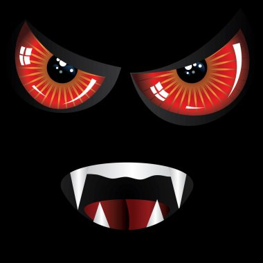 Evil face with red eyes