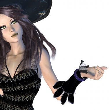 Witch in black hat