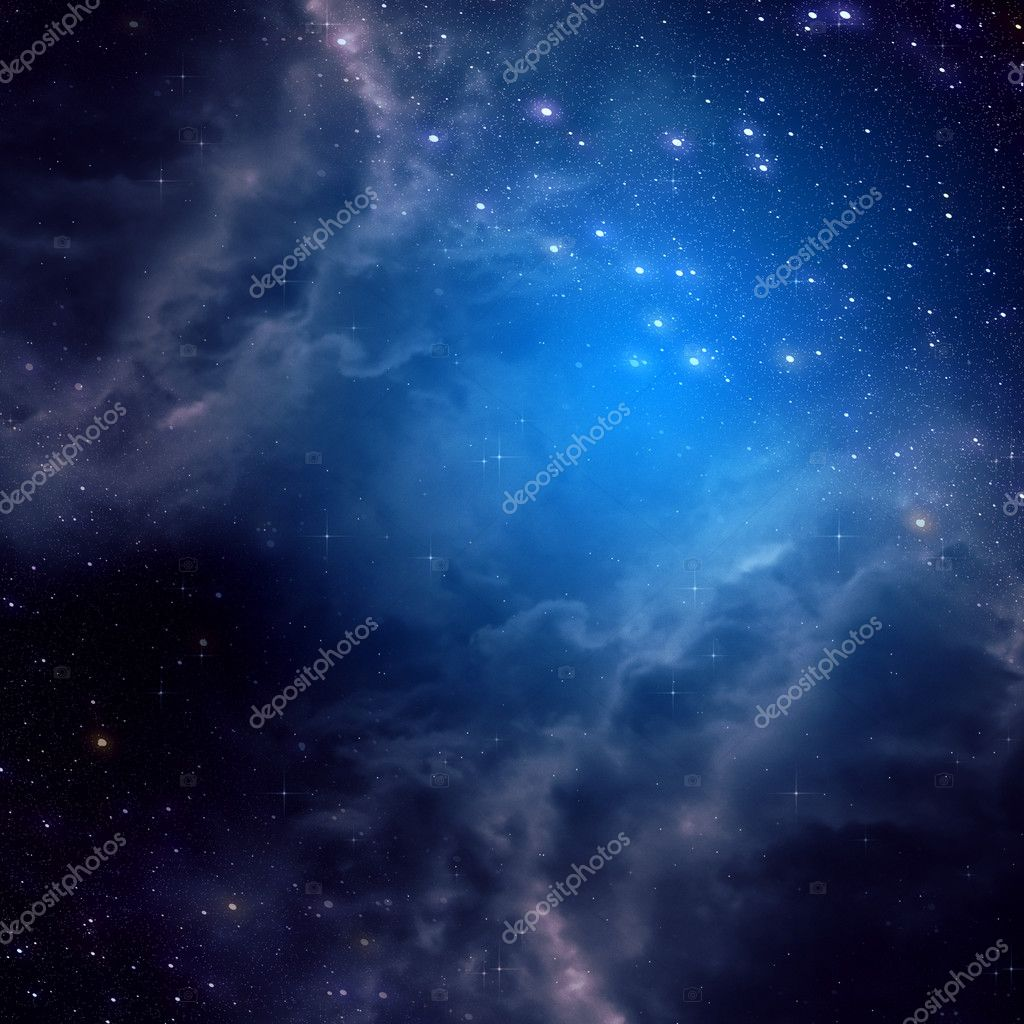 Space background of blue color
