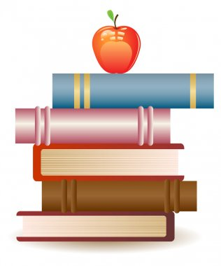 Red apple on book stack