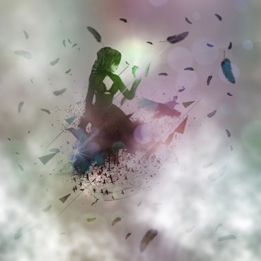 Abstract girl and raven