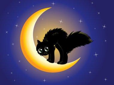 Black cat on moon