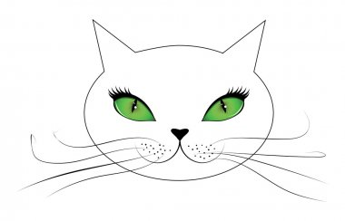 White cat face with green eyes